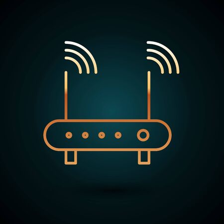 Gold line Router and wi-fi signal symbol icon isolated on dark blue background. Wireless ethernet modem router. Computer technology internet.  Vector Illustration.
