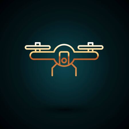 Gold line Drone flying icon isolated on dark blue background. Quadrocopter with video and photo camera symbol.  Vector Illustration.
