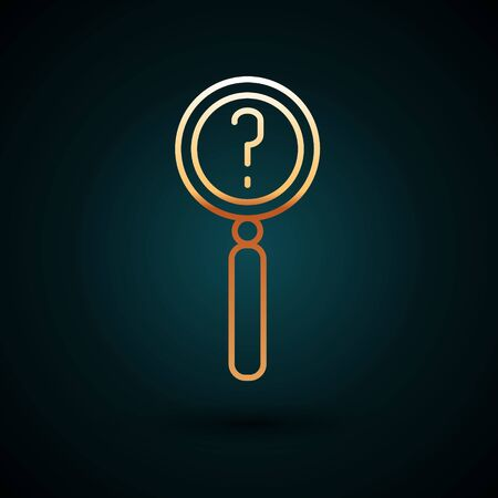 Gold line Magnifying glass with search icon isolated on dark blue background. Detective is investigating.  Vector Illustration. Foto de archivo - 150087835