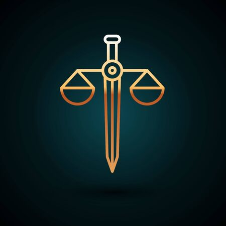 Gold line Scales of justice icon isolated on dark blue background. Court of law symbol. Balance scale sign.  Vector Illustration.