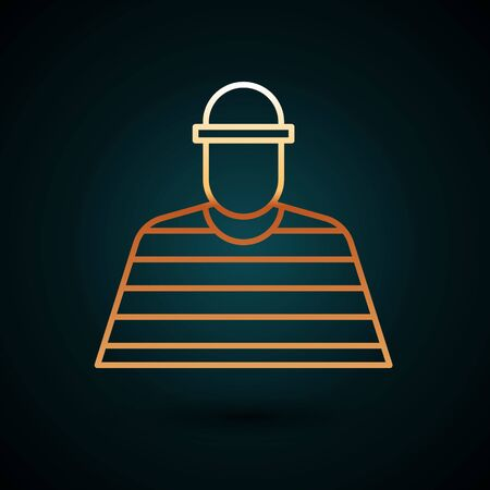 Gold line Prisoner icon isolated on dark blue background.  Vector Illustration. Foto de archivo - 150090593