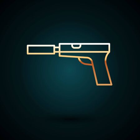 Gold line Pistol or gun with silencer icon isolated on dark blue background.  Vector Illustration.