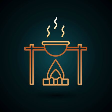 Gold line Campfire and pot icon isolated on dark blue background. Fire camping cooking in cauldron on firewood and flame. Vector Illustration.