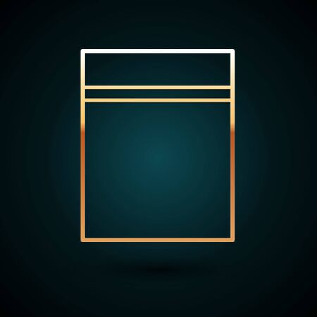 Gold line Plastic bag with ziplock icon isolated on dark blue background.  Vector Illustration. Vettoriali