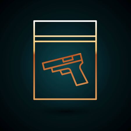Gold line Evidence bag and pistol or gun icon isolated on dark blue background.  Vector Illustration. Vectores