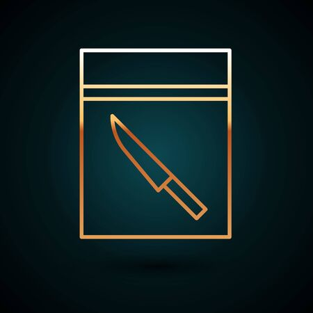Gold line Evidence bag and knife icon isolated on dark blue background.  Vector Illustration. Foto de archivo - 150087900