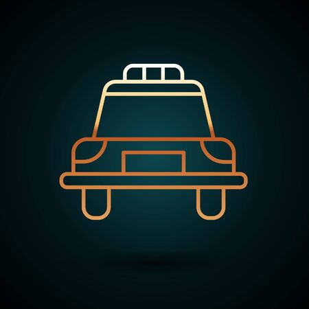 Gold line Police car and police flasher icon isolated on dark blue background. Emergency flashing siren.  Vector Illustration. Foto de archivo - 150087907
