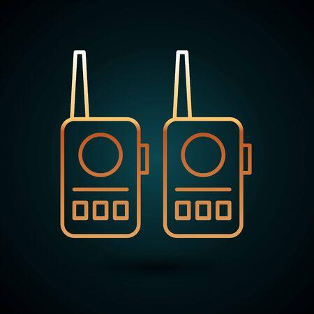Gold line Walkie talkie icon isolated on dark blue background. Portable radio transmitter icon. Radio transceiver sign. Vector Illustration. Çizim