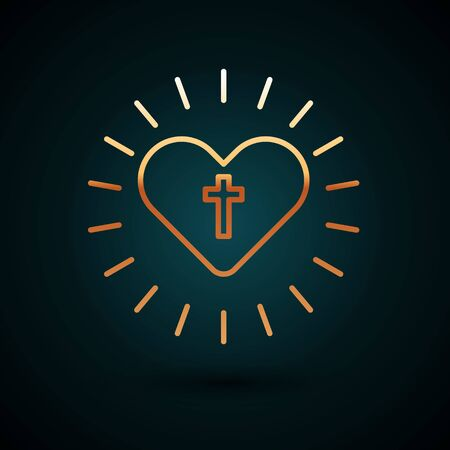 Gold line Christian cross and heart icon isolated on dark blue background. Happy Easter. Vector Illustration.