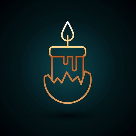 Gold line Burning candle in candlestick icon isolated on dark blue background. Cylindrical candle stick with burning flame. Vector Illustration.