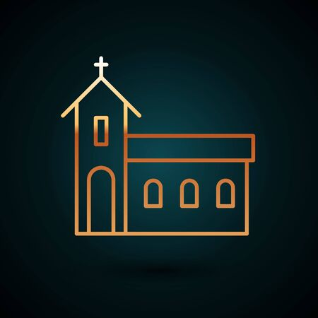 Gold line Church building icon isolated on dark blue background. Christian Church. Religion of church. Vector Illustration.
