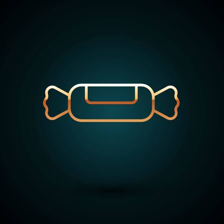 Gold line Candy icon isolated on dark blue background. Vector Illustration. Ilustracja