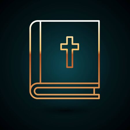 Gold line Holy bible book icon isolated on dark blue background. Vector Illustration. 일러스트