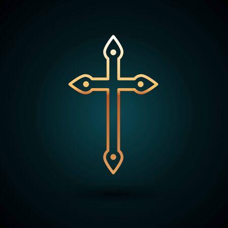 Gold line Christian cross icon isolated on dark blue background. Church cross. Vector Illustration.