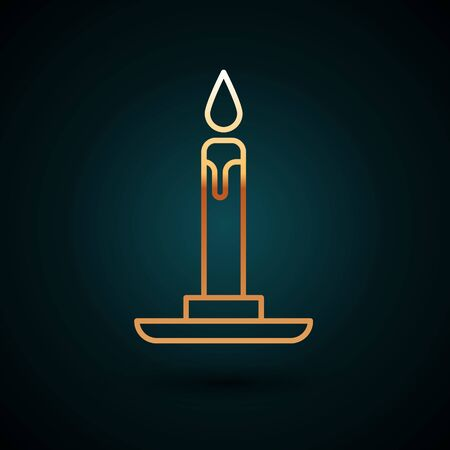 Gold line Burning candle in candlestick icon isolated on dark blue background. Cylindrical candle stick with burning flame. Vector Illustration. 일러스트