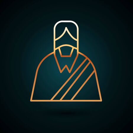 Gold line Jesus Christ icon isolated on dark blue background. Vector Illustration.