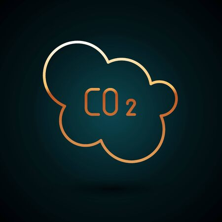 Gold line CO2 emissions in cloud icon isolated on dark blue background. Carbon dioxide formula, smog pollution concept, environment concept.  Vector Illustration. Illusztráció