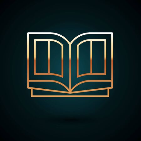 Gold line Holy bible book icon isolated on dark blue background. Vector Illustration. Vettoriali