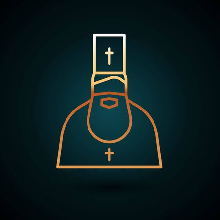 Gold line Priest icon isolated on dark blue background. Vector Illustration.