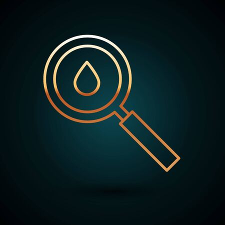 Gold line Oil drop icon isolated on dark blue background. Geological exploration, geology research.  Vector Illustration.  イラスト・ベクター素材