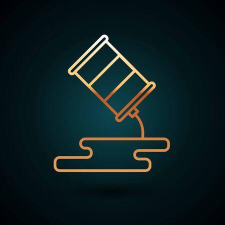 Gold line Barrel oil leak icon isolated on dark blue background.  Vector Illustration.