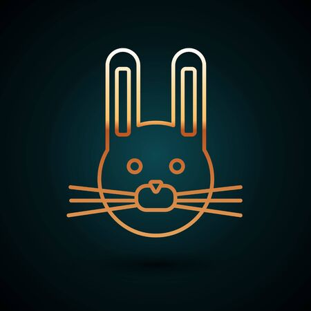 Gold line Easter rabbit icon isolated on dark blue background. Easter Bunny. Vector Illustration.