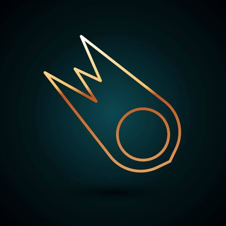 Gold line Comet falling down fast icon isolated on dark blue background. Vector Illustration.