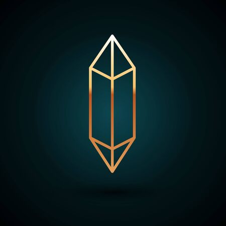 Gold line Magic stone icon isolated on dark blue background. Fantasy crystal. Jewelry gem for game. Vector Illustration. Vectores