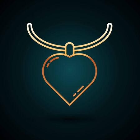 Gold line Necklace with heart shaped pendant icon isolated on dark blue background. Jewellery decoration. International Happy Women Day. Vector Illustration. Vectores