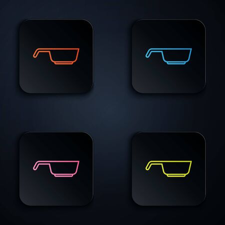 Color neon line Frying pan icon isolated on black background. Fry or roast food symbol. Set icons in square buttons. Vector.