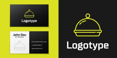 Logotype line Covered with a tray of food icon isolated on black background. Tray and lid. Restaurant cloche with lid. Kitchenware symbol. Logo design template element. Vector. 向量圖像