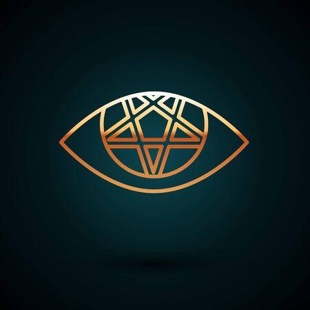 Gold line Pentagram icon isolated on dark blue background. Magic occult star symbol. Vector Illustration.  イラスト・ベクター素材