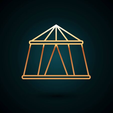 Gold line Circus tent icon isolated on dark blue background. Carnival camping tent. Amusement park. Vector Illustration.