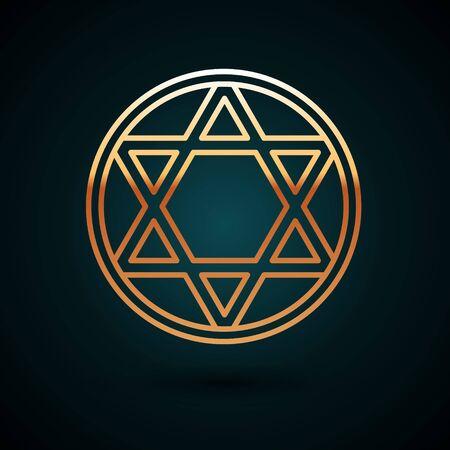 Gold line Star of David icon isolated on dark blue background. Jewish religion symbol. Symbol of Israel. Vector Illustration.
