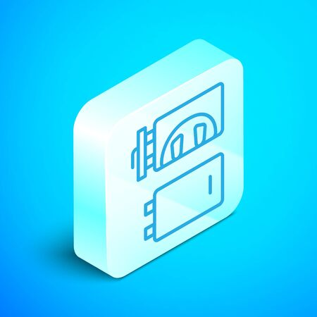 Isometric line Crematorium icon isolated on blue background. Silver square button. Vector.
