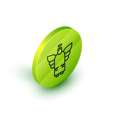 Isometric line Christmas angel icon isolated on white background. Green circle button. Vector. Illustration