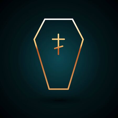 Gold line Coffin with christian cross icon isolated on dark blue background. Happy Halloween party. Vector.