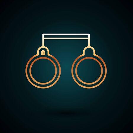 Gold line Handcuffs icon isolated on dark blue background.  Vector Illustration. Foto de archivo - 150088258