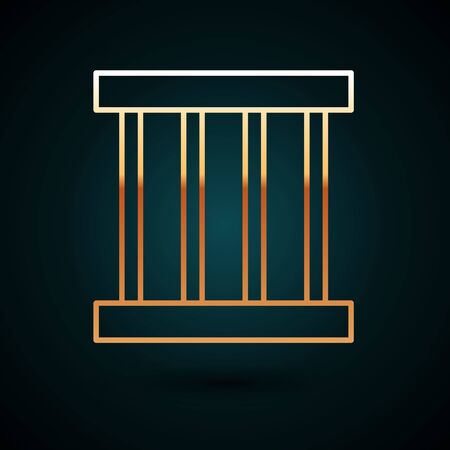 Gold line Prison window icon isolated on dark blue background. Vector Illustration.