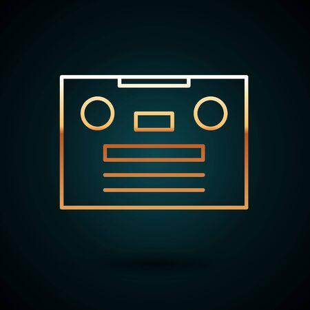 Gold line Retro audio cassette tape icon isolated on dark blue background.  Vector Illustration.