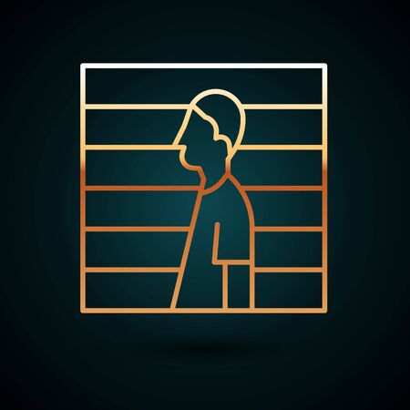 Gold line Suspect criminal icon isolated on dark blue background. The criminal in prison, suspected near the board. Vector Illustration.