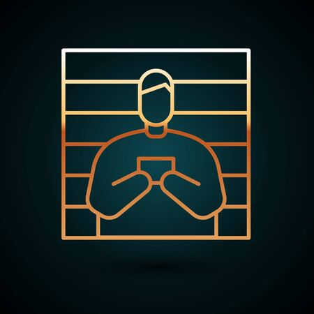 Gold line Suspect criminal icon isolated on dark blue background. The criminal in prison, suspected near the board.  Vector Illustration. Foto de archivo - 150091140