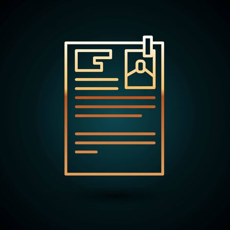 Gold line Lawsuit paper icon isolated on dark blue background.  Vector Illustration. Foto de archivo - 150091142