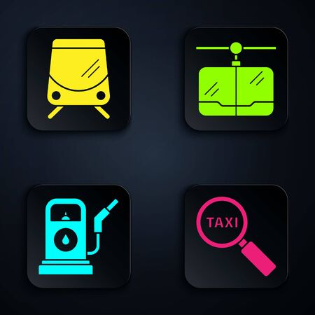 Set Magnifying glass and taxi car, Tram and railway, Petrol or Gas station and Cable car. Black square button. Vector.