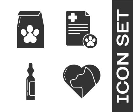 Set Heart with cat, Bag of food for pet, Pets vial medical and Clipboard with medical clinical record pet icon. Vector.