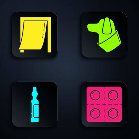 Set Dog and pills, Door for pet, Pets vial medical and Dog. Black square button. Vector.
