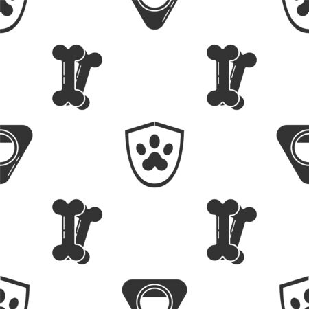 Set Pet bed, Animal health insurance and Dog bone on seamless pattern. Vector.