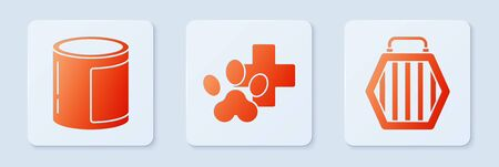 Set Veterinary clinic symbol, Canned food and Pet carry case. White square button. Vector.