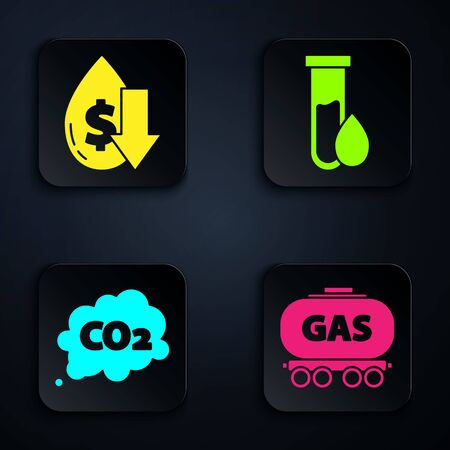 Set Gas railway cistern, Drop in crude oil price, CO2 emissions in cloud and Oil petrol test tube. Black square button. Vector.