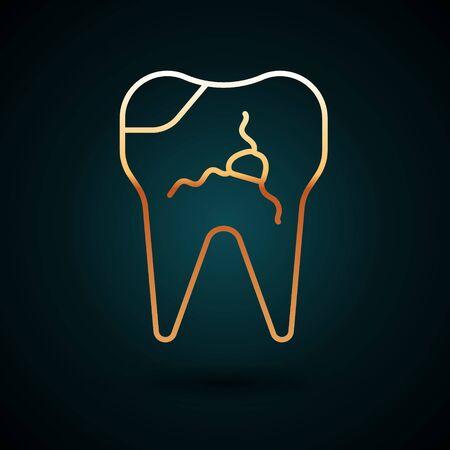 Gold line Broken tooth icon isolated on dark blue background. Dental problem icon. Dental care symbol. Vector Illustration. Vettoriali